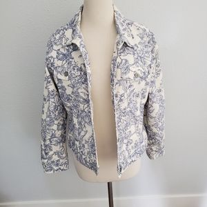 Eddie Bauer Blue Floral Denim Jean Jacket